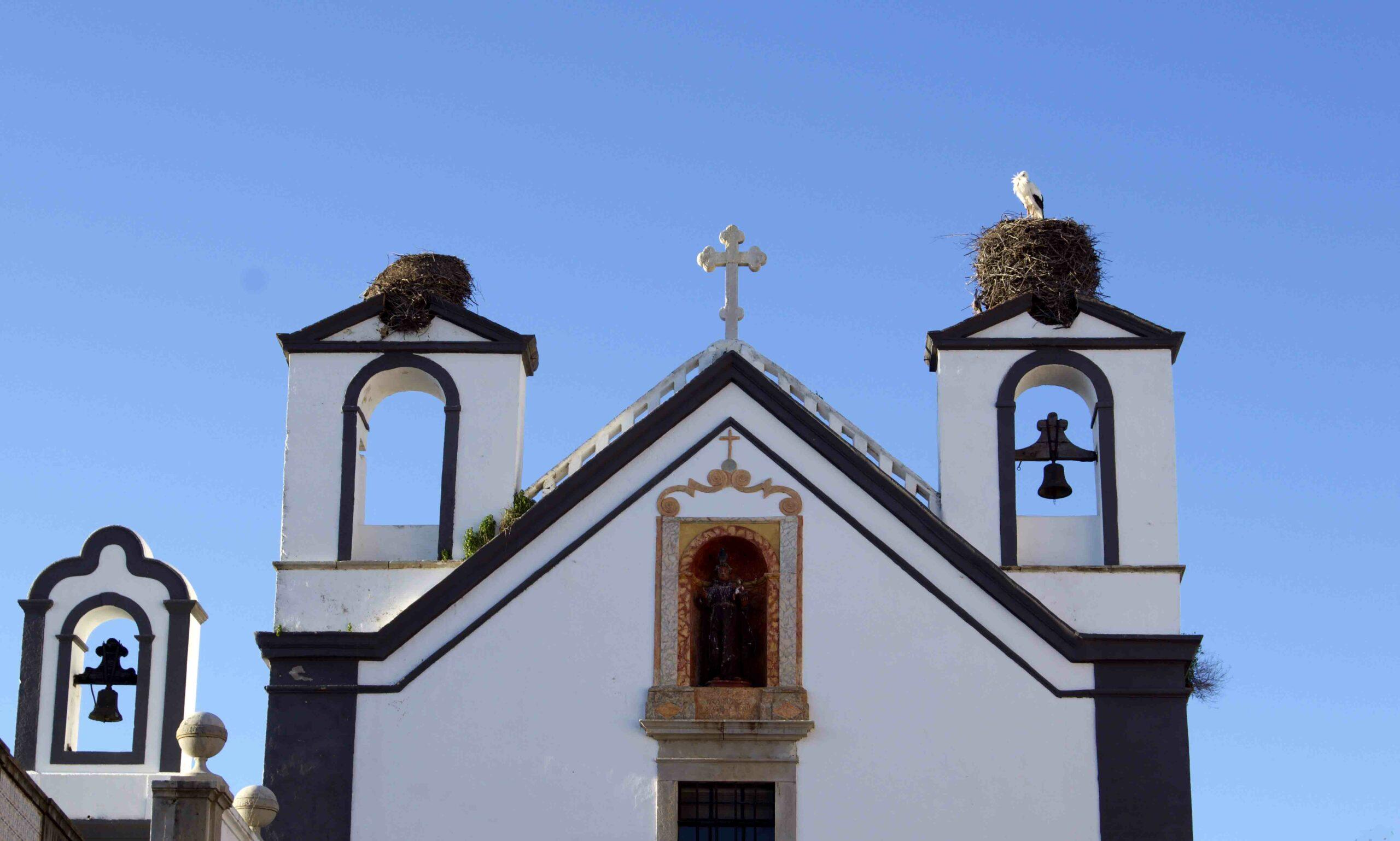 chiesa di Faro con nido di cicogne